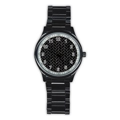 Brick2 Black Marble & Gray Stone Stainless Steel Round Watch by trendistuff