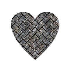 Brick2 Black Marble & Gray Stone (r) Heart Magnet by trendistuff