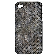 Brick2 Black Marble & Gray Stone (r) Apple Iphone 4/4s Hardshell Case (pc+silicone) by trendistuff