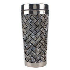 Brick2 Black Marble & Gray Stone (r) Stainless Steel Travel Tumblers by trendistuff
