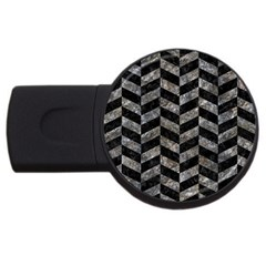 Chevron1 Black Marble & Gray Stone Usb Flash Drive Round (2 Gb) by trendistuff
