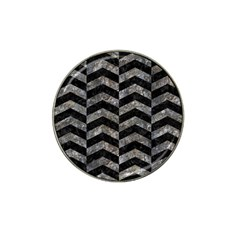Chevron2 Black Marble & Gray Stone Hat Clip Ball Marker by trendistuff