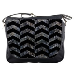 Chevron2 Black Marble & Gray Stone Messenger Bags by trendistuff