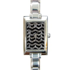 Chevron3 Black Marble & Gray Stone Rectangle Italian Charm Watch by trendistuff