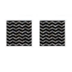 Chevron3 Black Marble & Gray Stone Cufflinks (square) by trendistuff