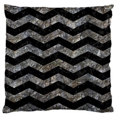Chevron3 Black Marble & Gray Stone Large Cushion Case (one Side) by trendistuff