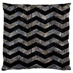 Chevron3 Black Marble & Gray Stone Standard Flano Cushion Case (one Side)