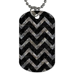 Chevron9 Black Marble & Gray Stone Dog Tag (two Sides) by trendistuff