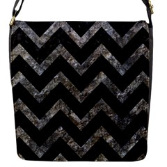 Chevron9 Black Marble & Gray Stone Flap Messenger Bag (s) by trendistuff