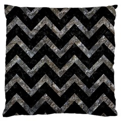 Chevron9 Black Marble & Gray Stone Large Flano Cushion Case (one Side) by trendistuff