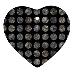 Circles1 Black Marble & Gray Stone Ornament (heart) by trendistuff