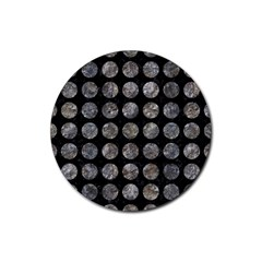 Circles1 Black Marble & Gray Stone Rubber Coaster (round)  by trendistuff