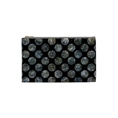Circles2 Black Marble & Gray Stone Cosmetic Bag (small)  by trendistuff
