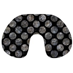 Circles2 Black Marble & Gray Stone Travel Neck Pillows by trendistuff