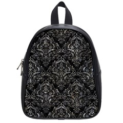 Damask1 Black Marble & Gray Stone School Bag (small) by trendistuff