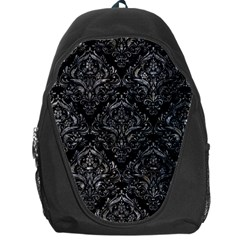Damask1 Black Marble & Gray Stone Backpack Bag by trendistuff