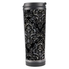 Damask1 Black Marble & Gray Stone Travel Tumbler by trendistuff