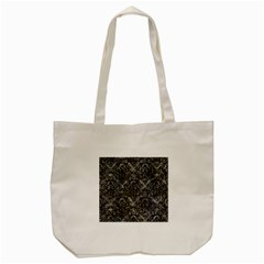 Damask1 Black Marble & Gray Stone (r) Tote Bag (cream) by trendistuff