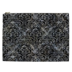 Damask1 Black Marble & Gray Stone (r) Cosmetic Bag (xxl)  by trendistuff