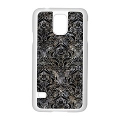 Damask1 Black Marble & Gray Stone (r) Samsung Galaxy S5 Case (white) by trendistuff