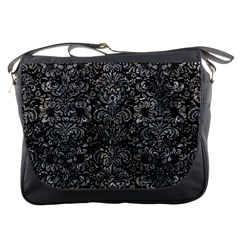 Damask2 Black Marble & Gray Stone Messenger Bags by trendistuff