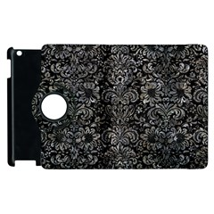 Damask2 Black Marble & Gray Stone Apple Ipad 3/4 Flip 360 Case by trendistuff