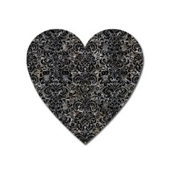 Damask2 Black Marble & Gray Stone (r) Heart Magnet by trendistuff