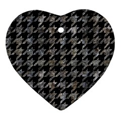 Houndstooth1 Black Marble & Gray Stone Ornament (heart) by trendistuff