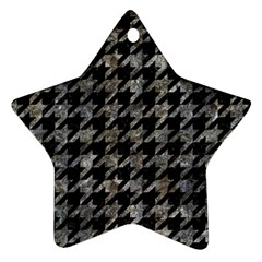 Houndstooth1 Black Marble & Gray Stone Ornament (star) by trendistuff