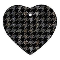 Houndstooth1 Black Marble & Gray Stone Heart Ornament (two Sides) by trendistuff
