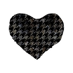 Houndstooth1 Black Marble & Gray Stone Standard 16  Premium Heart Shape Cushions by trendistuff