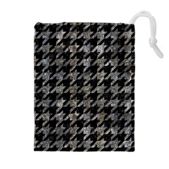 Houndstooth1 Black Marble & Gray Stone Drawstring Pouches (extra Large) by trendistuff