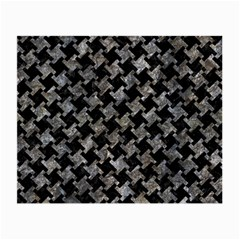 Houndstooth2 Black Marble & Gray Stone Small Glasses Cloth (2 Side) by trendistuff