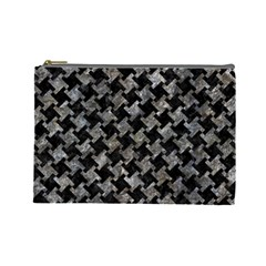 Houndstooth2 Black Marble & Gray Stone Cosmetic Bag (large)  by trendistuff