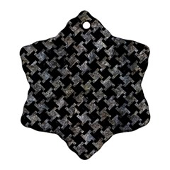 Houndstooth2 Black Marble & Gray Stone Ornament (snowflake) by trendistuff