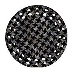 Houndstooth2 Black Marble & Gray Stone Round Filigree Ornament (two Sides) by trendistuff
