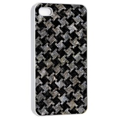 Houndstooth2 Black Marble & Gray Stone Apple Iphone 4/4s Seamless Case (white) by trendistuff