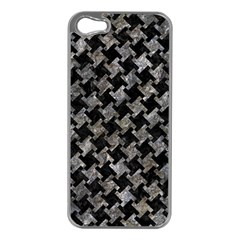 Houndstooth2 Black Marble & Gray Stone Apple Iphone 5 Case (silver) by trendistuff