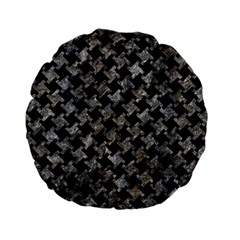 Houndstooth2 Black Marble & Gray Stone Standard 15  Premium Flano Round Cushions by trendistuff