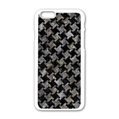 Houndstooth2 Black Marble & Gray Stone Apple Iphone 6/6s White Enamel Case