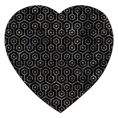 Hexagon1 Black Marble & Gray Stone Jigsaw Puzzle (heart) by trendistuff