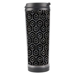 Hexagon1 Black Marble & Gray Stone Travel Tumbler by trendistuff