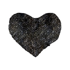 Hexagon1 Black Marble & Gray Stone (r) Standard 16  Premium Flano Heart Shape Cushions by trendistuff