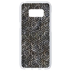 Hexagon1 Black Marble & Gray Stone (r) Samsung Galaxy S8 White Seamless Case by trendistuff