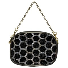 Hexagon2 Black Marble & Gray Stone Chain Purses (two Sides)  by trendistuff
