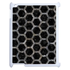 Hexagon2 Black Marble & Gray Stone Apple Ipad 2 Case (white) by trendistuff