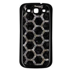Hexagon2 Black Marble & Gray Stone Samsung Galaxy S3 Back Case (black) by trendistuff