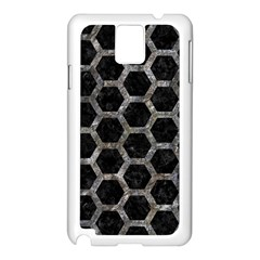 Hexagon2 Black Marble & Gray Stone Samsung Galaxy Note 3 N9005 Case (white) by trendistuff