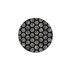 Hexagon2 Black Marble & Gray Stone (r) Golf Ball Marker by trendistuff