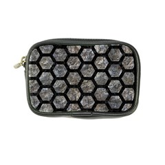 Hexagon2 Black Marble & Gray Stone (r) Coin Purse